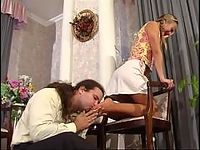 Pig-tailed chick giving meaty pecker a great workout using her nylon feet