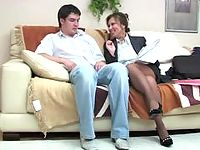 Job interview ends with wild suck-n-ride games of lewd milf and younger guy
