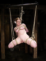 Darling is shocked and bent in impossible bondage positions