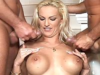 Two horny hunks cumhose blonde bitch after anally pumping her!