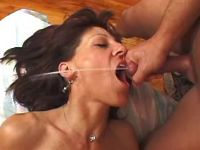 Old lady gets anal and eats hot cum