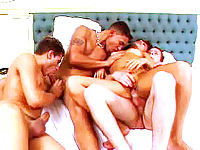 Tanned and toned chick wrapped in a bed-filled of sex starved bisexuals.
