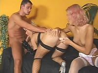 Stockings whores engaged in threesome gangbang foreplay action