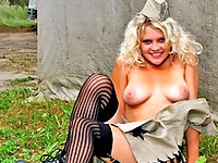 Busty Blonde Cutie Slipping Out Off Her Army Uniform