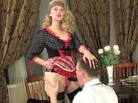 Hot French maid taking advantage of the opportunity to strap-on fuck a guy