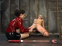 Sexy blonde is bound and shocked with the violet wand