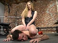 Joey is trampled forced to suck Kalis strap-on cock