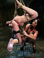 Gia Paloma submits to electrical clamps, prods, and dildos