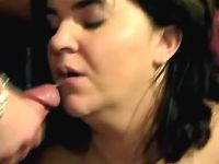 Fatty rides fresh cock and gets cum
