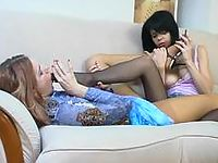 Sexy girlfriends having freaky fun licking nylon feet in high heel shoes