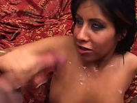 Indian babe gets cum on her tits