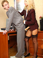Female co-worker ready to make guy moaning from pleasure in strap-on fuck