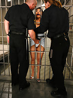 Mika Tan is tied punished and fucked by two guards.