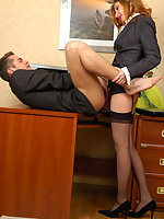 Naughty babe and her co-worker ready for strap-on break right in the office