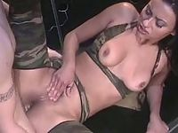 Nasty whore in sexy camouflage suit getting hard and heavy ass banging
