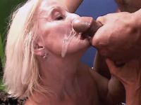 Lewd granny gets facial after fuck
