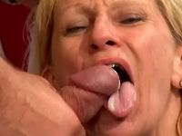 Lewd old slut gets cumload in mouth