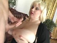 Mature chubby slut gets cum on tits
