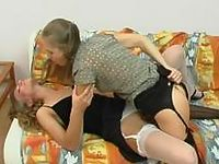 Tender muff-diving ends up with wild ass-ramming for strap-on armed sappho
