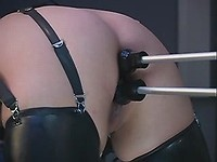 Latex whore is stuffed by diff toys