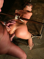 Busty brunette in first time bondage and sex domination.