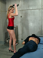 Audrey fucks tickles and forces her cell guard to eat her pussy