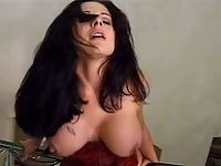 Dark-haired in stockings getting hot lesbian pussy licking