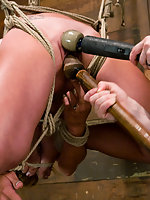 Hot euro girls get bound by american bitch and made to squirt.