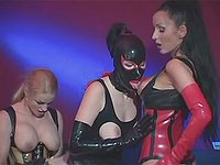 Three hot latex sluts in wild orgy