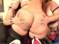 Enormous lesbians have fun in orgy