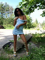 People watch hot brunette getting stripped in park