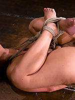 Hot shaved Asian girl bound and tickled to tears. Hogtied.com