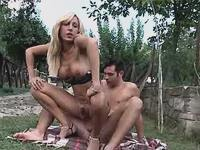 Tgirl sucks n jumps on cock outdoor