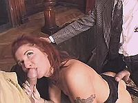Redhead mature has oral w two guys