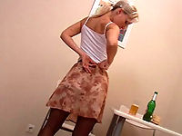 Drunken pantyhosed girl reveals herself