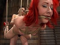 Sabrina Sparks is bound upside down strap-on fucked and flogged