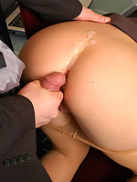 Sultry female co-worker doesn't mind wild dildotoying and hot ass-screwing