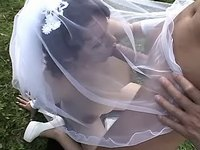Depraved bride sucks cock of driver