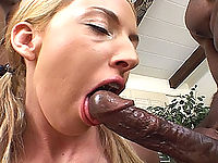 Crazy white slut tries to deep throat a massive black cock