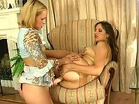 Fiery lesbian chick tearing babe's tights craving to drill tight asshole