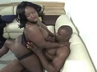 Black bitch sucks and jumps on cock