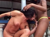 Ardent bondaged gal in shemale orgy