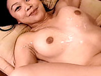 Exotic bitch getting her breasts cumsprayed after a hot fuck