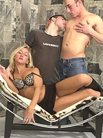 Horny male and female bisexual threesome getting kinky with each other