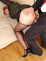 Hot secretary in black hose dildoing her pussy while getting her ass pumped