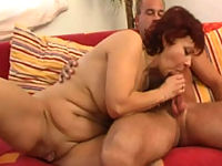 Sexy old plumper masters her oral skills on a cock