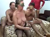 Lusty granny prefers numerous cocks in groupsex
