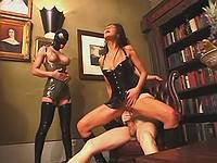 Two latex chicks swap sperm in orgy
