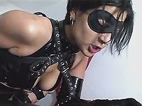 Whores in black latex outfit in orgy