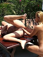 Brunette gets her pussy punished by the pool